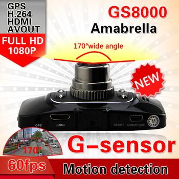 "Ambarella Original GS8000 Car dvr 2.7"" LCD full hd1920X1080P 30fps H.264 with G-Sensor GPS freeshipping (Russian)"