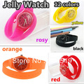 JW018 12 colors long Band Jelly Watch Sport Candy Color Watch Fashion Silicone Jelly Watch Wrist  Free Shipping