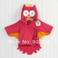 Free Shipping Children Wear infant baby cotton  terry fabric 8 animal embroidery design owl bathrobes