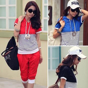 Fashion Summer Women Hoody Short Sleeve Stripe Print Sport T-Shirt Pants 2 Pcs Hoodies Sweats Suit Clothing Free Shipping 0675