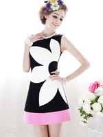 2014 Casual Women's Print Flower Sleeveless Dress Summer O-Neck Black And White Powder Dresses Cotton+Polyester FWO101014