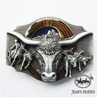 Drop shipping Longhorn Rodeo Bull Western Belt Buckle Cowboy Belt Buckle
