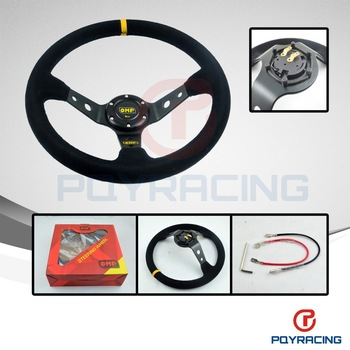 PQY STORE- Steering wheel ID=14inch 350mm OMP Deep Corn Drifting Steering Wheel / Suede Leather Steering wheels
