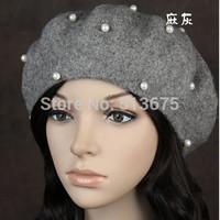 Free Shipping 2014 Cute Winter Autumn Hat Winter wild match pearl wool beret hat female artist Hat