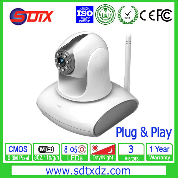 Indoor Wireless Network Camera 0.3M Pixel Plug and Play for with 3 visitors online H.264 Format(China (Mainland))