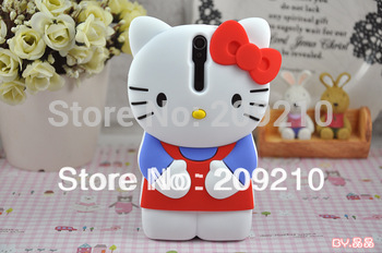 Hot sale Cute Cartoon 3D Bowknot hello kitty Case Cover For Sony Xperia S SL LT26i LT26ii,good quality 1pcs/lot