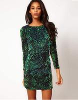 Free Shipping New Trendy Party Wear/ Women's High Fashion Paillette Dress/ Long Sleeve One-piece Dress/ Bling Dress