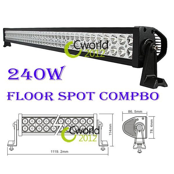 240w 80pcs*3W Flood Spot Combo LED ALLOY Work Light Bar BUS 4WD offroad Boat Mine Train Lamp FREE SHIP High Power 240w led bar(China (Mainland))