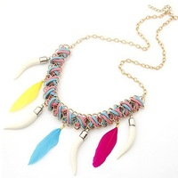 Free Shipping Boutique Ox Horn And Feather Pendant Colourful Braided Rope Alloy Necklaces Mixed 4 Colours