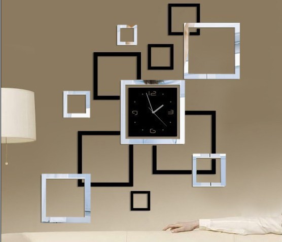Unique home decoration!mirror effect frame wall clock modern design,squre wall hours,wall sticker watch,home ornament!F36(China (Mainland))