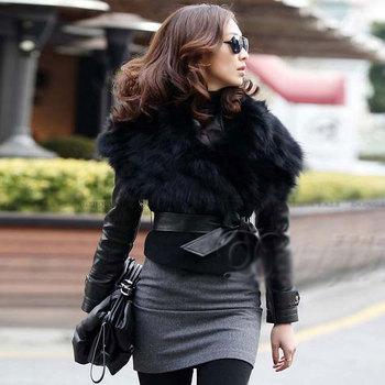 New Fashion Spring & Winter Womens fur Waistcoat Sexy Ladies jacket leather belt Fox fur Collar Sleeveless short vest coat WA024
