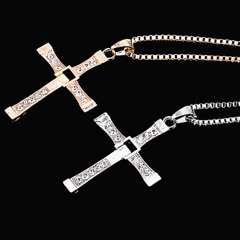 Male Necklaces & Pendants Fashion Movie jewelry The Fast and The Furious Toretto Men Classic Colar CROSS Pendant Necklace 2014