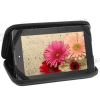 Free Shipping New Arrival Universal Zipper PU Leather Case Bag with Speaker for 7 Inch Tablet PC - Black