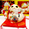 10cm cute crystal ceramic maneki neko lucky cats fortune cat money box piggy bank, home peace mascot, 53225