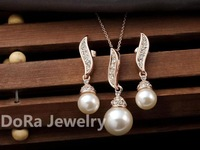#PDRS-CL001 ,18K Gold Plated  ,Rose Gold Plated ,Pear Jewelry Set With Rhinestone Nickel Free ,Free shipping