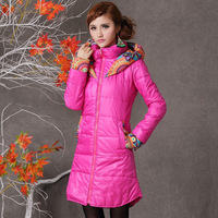 2014 Women Fashion Print Hoodie Winter Long Coat Parka Zipper Design Free Shipping