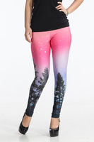 Leggings Fashion 2013 Aurora Skye Neon Purple Leggings Black MIlk Leggings Galaxy leggings Plus Size M XL New 13096