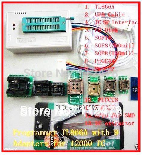 Free shipping 2014 NEW V6.0 Russian & English Software TL866 USB Universal BIOS Programmer TL866A +10 IC Adapters(China (Mainland))