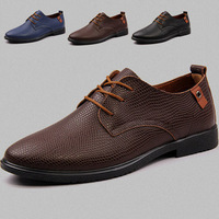 0105 Men's Formal Sneaker Business Genuine Leather Flats Shoes Cowhide Casual