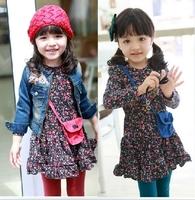 Hot sale long sleeve cotton shivering girls dresses baby/children bag dress 5pcs 2 colors free ship 630230J