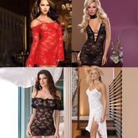 Women Black/White Sexy Lingerie Dress  Full Lace Costume Sexy Sleepwear Lace Uniform Set Free Shipping