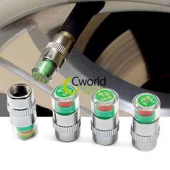 4pcs Tire Pressure Monitor Valve Stem Caps Cover Sensor Indicator Eye Alert 36PSI 2.4 Bar Tyre System