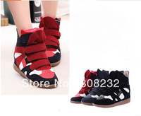 Drop Shipping Height Increasing New Flat Wedges Boot Isabel Marant High Top Suede Shoes Sneakers For Women