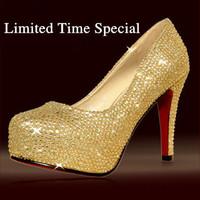 Silver Red Rhinestone high heels nightclub wedding shoes big yards Princess thick crust crystal rhinestone pumps red bottoms 14