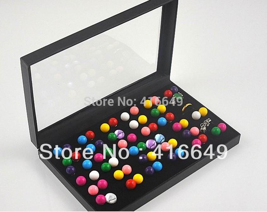 Free Shipping Wholesale 2pcs/lot Black Jewelry Rings Display Show Case Organizer Tray Box 36 Slots(China (Mainland))
