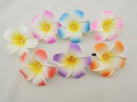 Free shipping 30pcs 7color Hawaii Flower clips Bridal Wedding Party foam Hair Clip Pearl Plumeria flower womens hair accessories