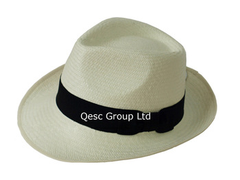 Genuine panama hat straw hat fedora,sole supplier from China.Synthetic leather sweatband with gold printing,58cm,60cm