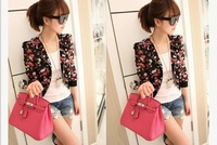 Autumn Lady Women Fashion Long Sleeve Floral Print Shrug Short Jacket Chiffon Top