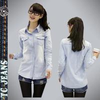 [TC Jeans] 2014  women clothing nostalgic vintage water wash gradient women long sleeve denim shirt hot selling  women shirt
