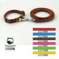 Wholesale Free shipping (6 Colors)   12pcs/lot Classic Pet Dog  Dots Print dog collars & leads Set 1.0cm
