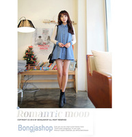 [TC Jeans] 2013 women shirts wind large size and long female dresses denim shirt female long sleeved lace jeans shirt cotton