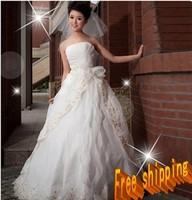 Free  shipping !!   Stock White&ivory Wedding Brides Dress