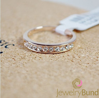 Fashion Designer 18K Rose Gold Plated Colorful Crystal Wedding Rings for Women Free Shipping Good Quality-Jewelry Bund