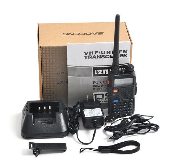2piece/lot baofeng walkie-talkie 5w 128ch uhf& vhf baofeng uv-5r transceiver mobile behandelt a0850a fshow frei kopfhörer