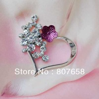 free shipping 10pcs/pack fashion rhinestone romantic heart flower brooch, rhodium plating wedding alloy pin embellishment, FB018