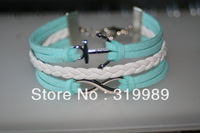 Free shipping 12PCS/Lot baby product Simple Anchor Infinite Charm Bracelet Leather rope chain Girl's Pulseira Jewelry B00665