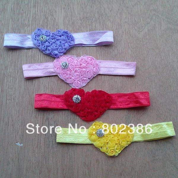 Red Pink Purple Yellow Heart Shabby Bow Headband Valentines,New baby girl headband,Kids Hair Accessories(China (Mainland))