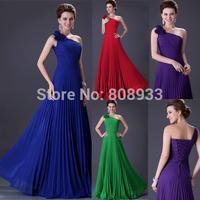 Designer Elegant Floor Length Royal Blue One Shoulder Chiffon Bodycon Long Prom Evening Dresses Women Wedding Party Gown CL3467