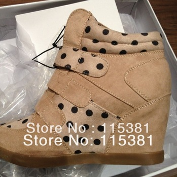 Fashion  high heels wedges dot platform shoes female sport shoes inner increasing boots