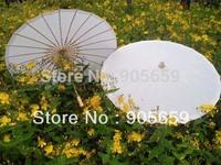 (50 pcs/lot) Handmade 33 Inches Bamboo Ribs Plain White Paper Bridal Wedding Parasols