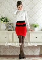 new lady fashion tulip falbala bow high-waisted wool skirt  plus size S,M,L,XL A-100