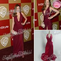 70th Golden Globes Red Carpet Miranda Kerr Dress Sexy Deep V neck A line Split Side Floor Length Real Celebrity Dresses 2013