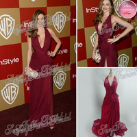 70th Golden Globes Red Carpet Miranda Kerr Dress Sexy Deep V neck A line Slits Side Floor Length Real Celebrity Dresses 2013