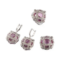 Fashion Trendy Beautiful pink crystal 925 silver Wholesale heart set (ring/earring/pendant) 516set sz6 7 8 9