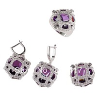 Trendy hot sell Amethyst crystal Round Cut 925 silver fashion heart set (ring/earring/pendant) 513set sz 6 7 8 9
