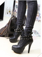 High Heel Punk Ankle Boots for Free Shipping Black PU Leather High Platform Punk Ankle Boots